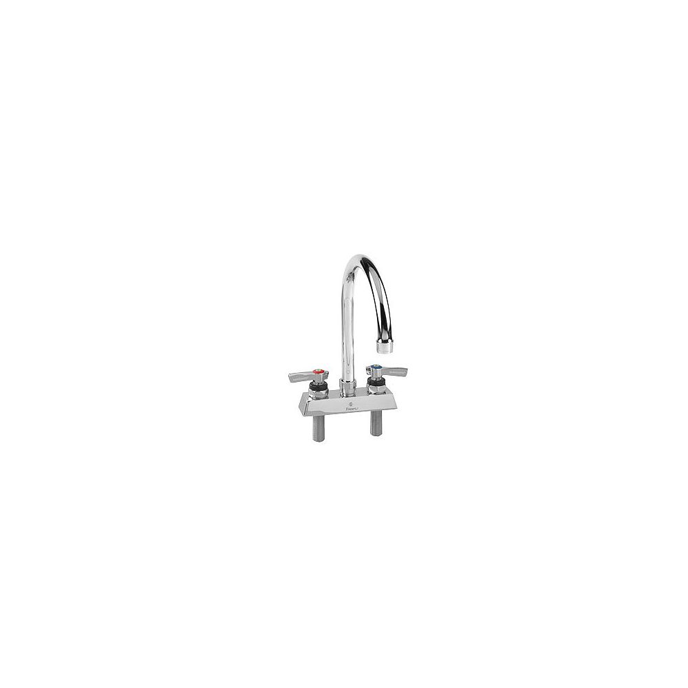 Encore Deck Mount Faucet: 4 Inch (102mm) OC Inlets, Compression Valves, 6 Inch (152mm) Swivel Gooseneck Spout, 2.2 Gpm Aerator, Lever Handles 4 Inch