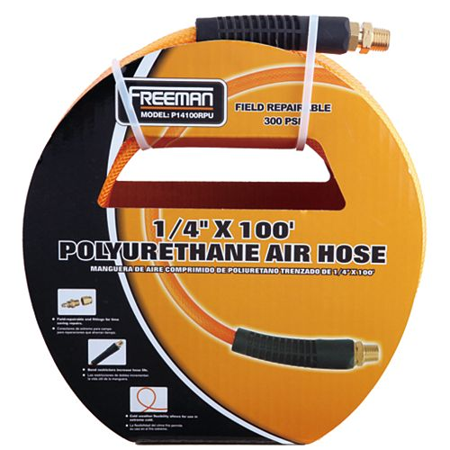 Freeman 1/4 Inch x 100 Feet Polyurethane Air Hose with Field Repairable Ends