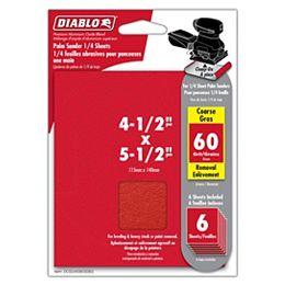 Feuille de papier sablé à pince de 4 1/2 po x 5 1/2 po à fini grossier de 60 grains pour le ponçage du bois, du métal et du plastique (6 paquets)