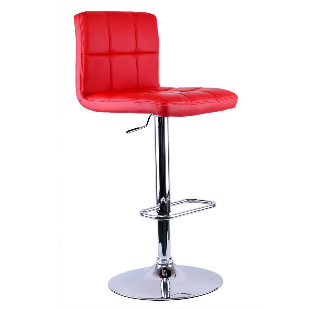 Worldwide Homefurnishings Inc. Max Leather Metal Chrome Backless Armless Bar Stool with Red Faux Leather Seat (Set of 2)