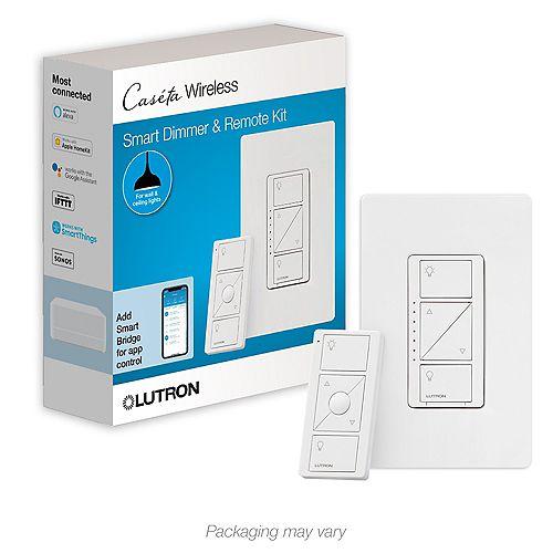 Gradateur intelligent Caseta et kit de télécommande pour lumieres plafonniers, blanc