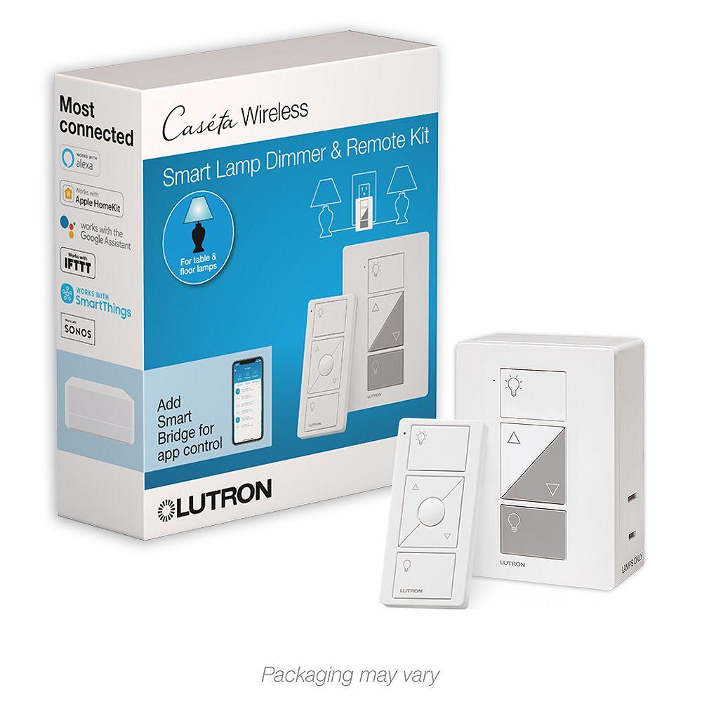 Lutron Caseta Wireless Smart Lighting Lamp Dimmer and Remote Kit, White