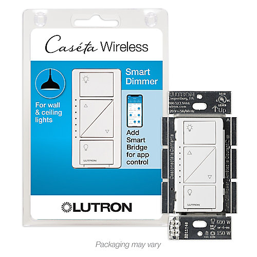 Gradateur Interrupteur intelligent sans fil Caseta pour éclairage mural et plafonnier, blanc