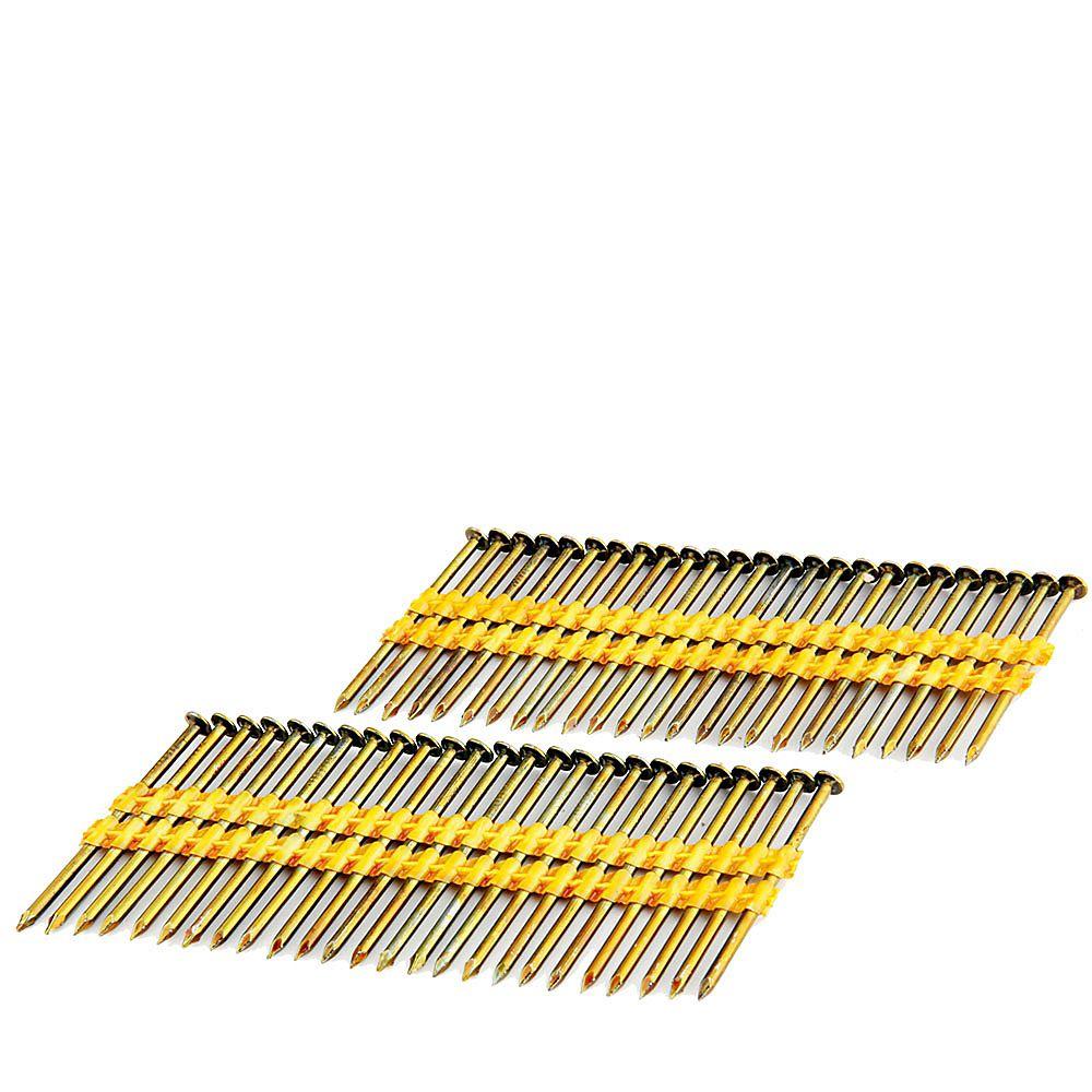 Freeman Clous enduits à tige lisse sur bande de plastique 2 3/8 po  brillant, .113po, boîte colorée de 2 000