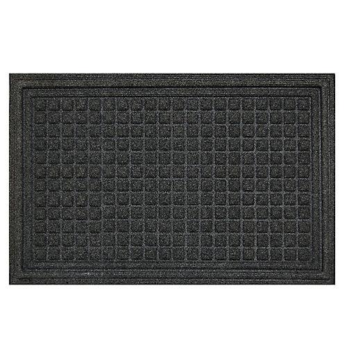 Contours Grey 2 ft. x 3 ft.  Indoor/Outdoor Rectangular Door Mat