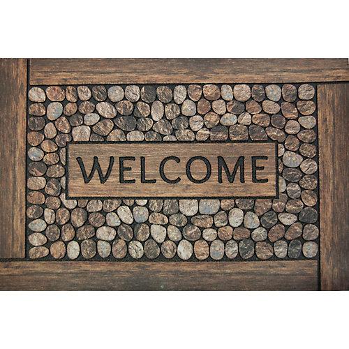 Paillasson d'intérieur/extérieur Welcome, 2 pi x 3 pi, rectangulaire, brun