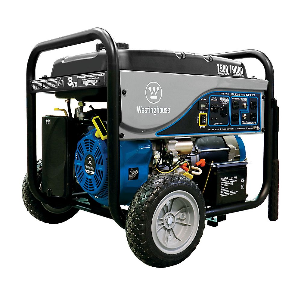 Westinghouse 7,500W Gasoline Powered Electric Start Portable Generator with Battery