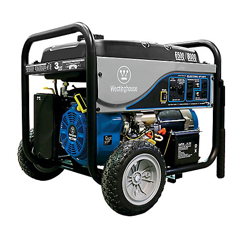 6,500W Gasoline Powered Electric Start Portable Generator with Battery