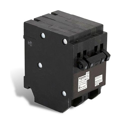 Schneider Electric Homeline Single Pole 15A(2) / Double Pole 15 Amp Homeline Quad Plug-On Circuit Breaker, 5-pack