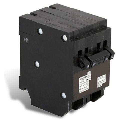 Disjoncteur Quad Type Homeline (2 1-pôle-15A &1 à 2 pôles 40A)
