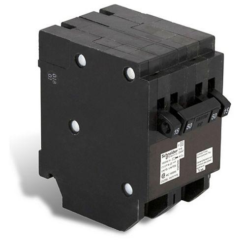Disjoncteur Quad Type Homeline (2 1-pôle-15A &1 à 2 pôles 50A)