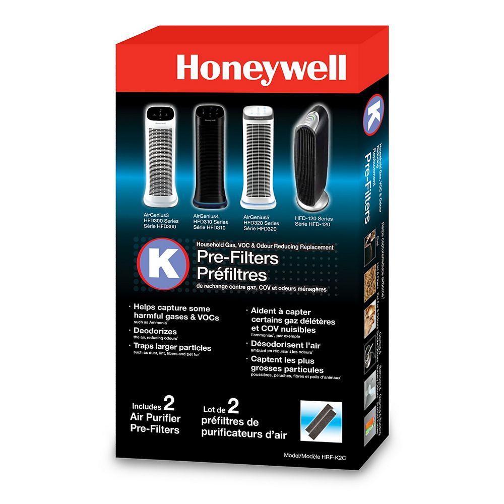 Honeywell Préfiltre Honeywell réduisant les odeurs ménagères et les gaz – lot de 2