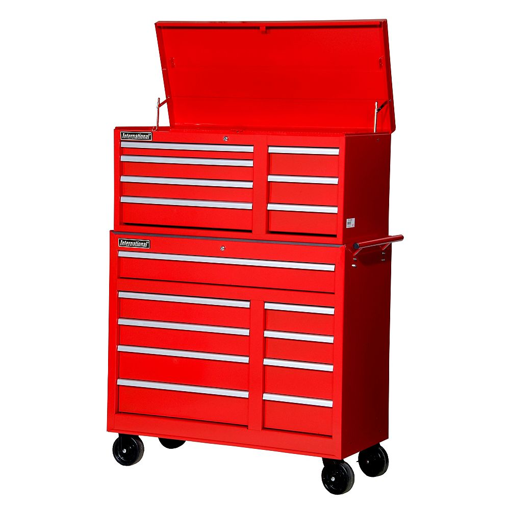 International 42-inch 16-Drawer Chest and Cabinet in Red