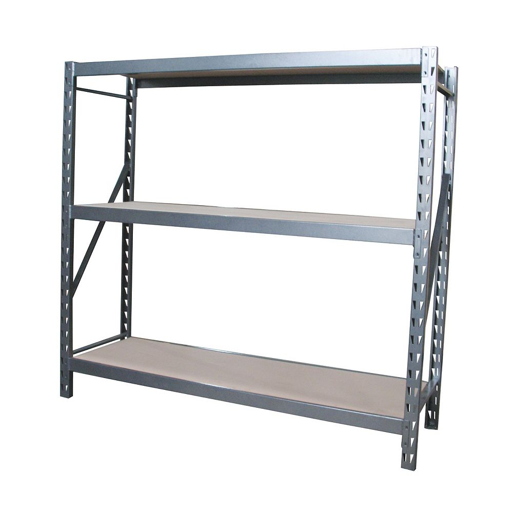International 3 Shelf Industrial Grade Riveted Storage Rack With Particle Board Shelves