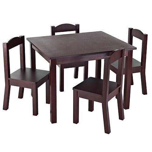 Ensemble de table et 4 chaises espresso pour enfants