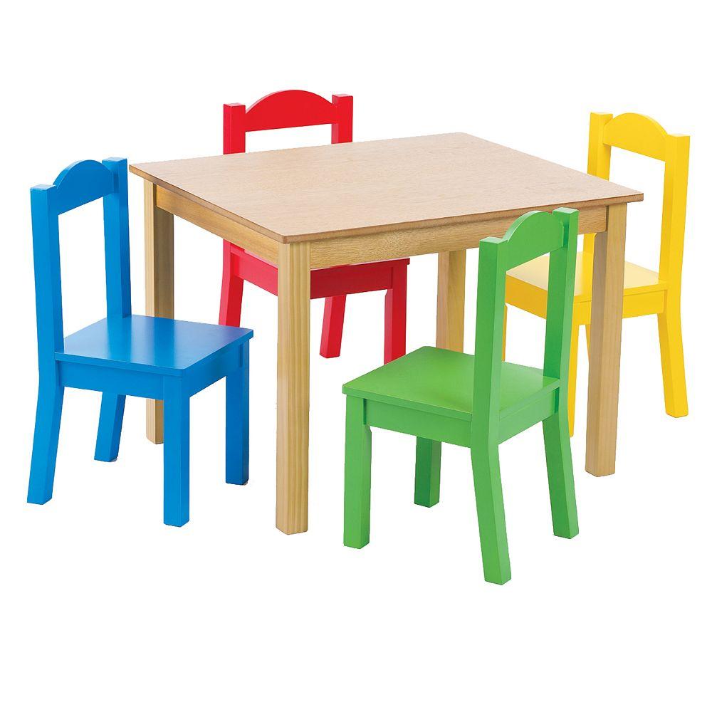 Tot Tutors Table et 4 chaises de couleur primaire
