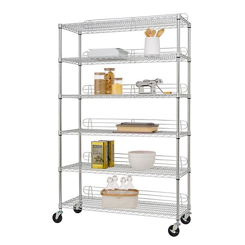 EcoStorage 6-Tier 48 inch x 18 inch NSF Chrome Wire Shelving Rack with Wheels and Backstands