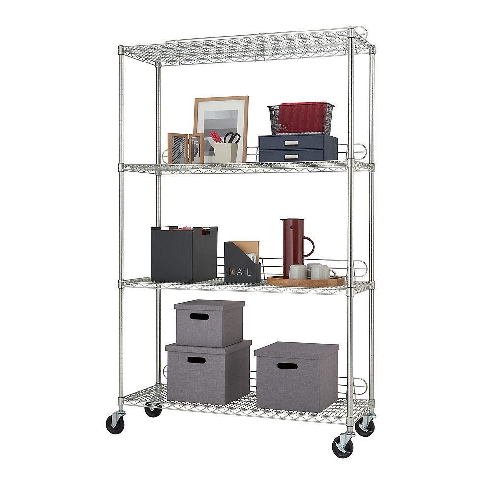 Trinity EcoStorage 48 inch x 18 inch NSF Chrome Color 4-Tier Wire Shelving Rack with Wheels and Backstands