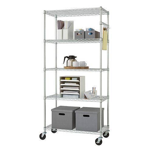 EcoStorage 36 inch x 18 inch NSF Chrome Color 5-Tier Wire Shelving Rack with Wheels, Sidebar & Hooks