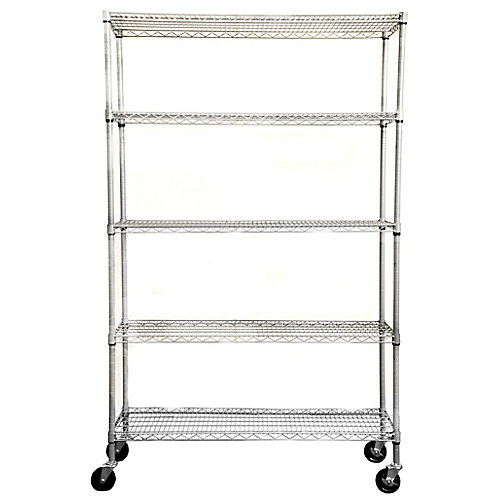 5-Tier Outdoor Wire 48-inch x 18-inch x 72-inch Shelving Rack with Wheels in Grey