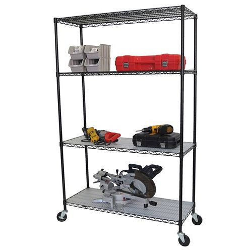 Trinity 4-Tier Nsf 48X18X72 Wire Shelving Rack With Wheels And Liners- Black