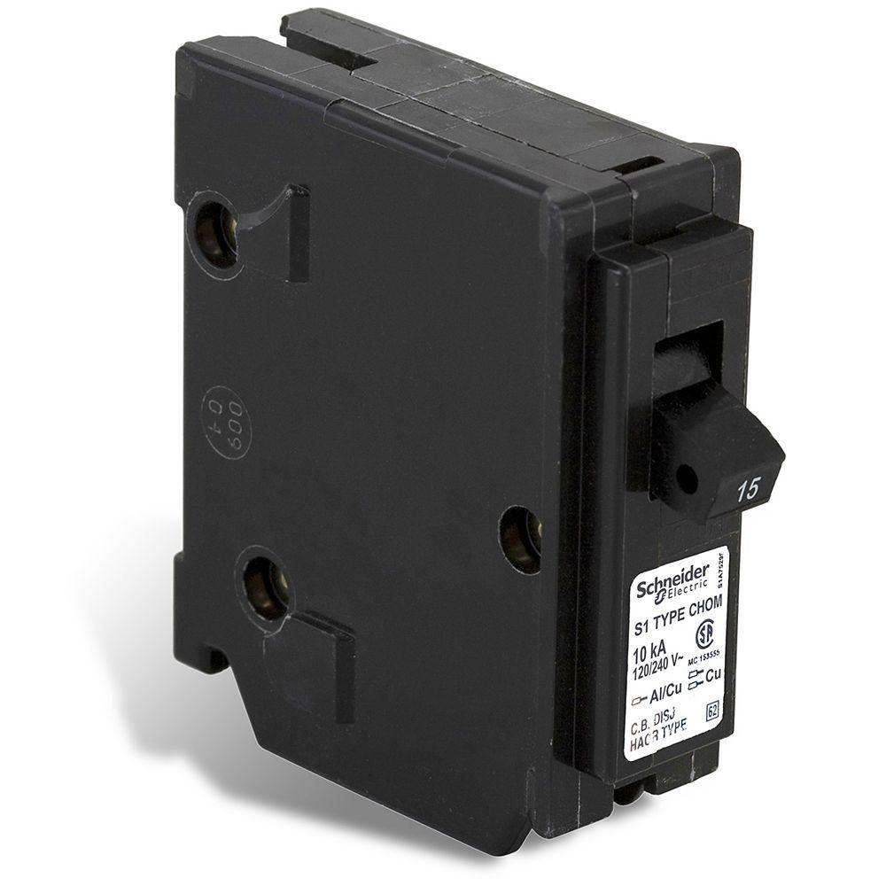 Schneider Electric Homeline Single Pole 15 Amp Homeline Plug-On Circuit Breaker
