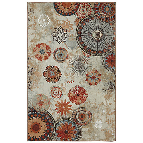 Alexa Brown 5 ft. x 8 ft. Indoor/Outdoor Transitional Rectangular Area Rug