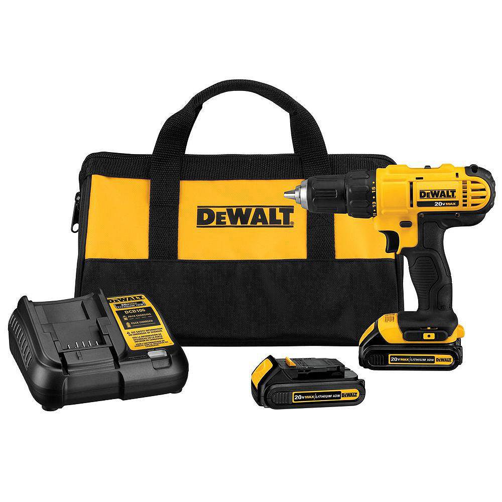 DEWALT 20V MAX Lithium-Ion Cordless 1/2-inch Drill/Driver Kit with (2) 1.3Ah Batteries, Charger and Bag