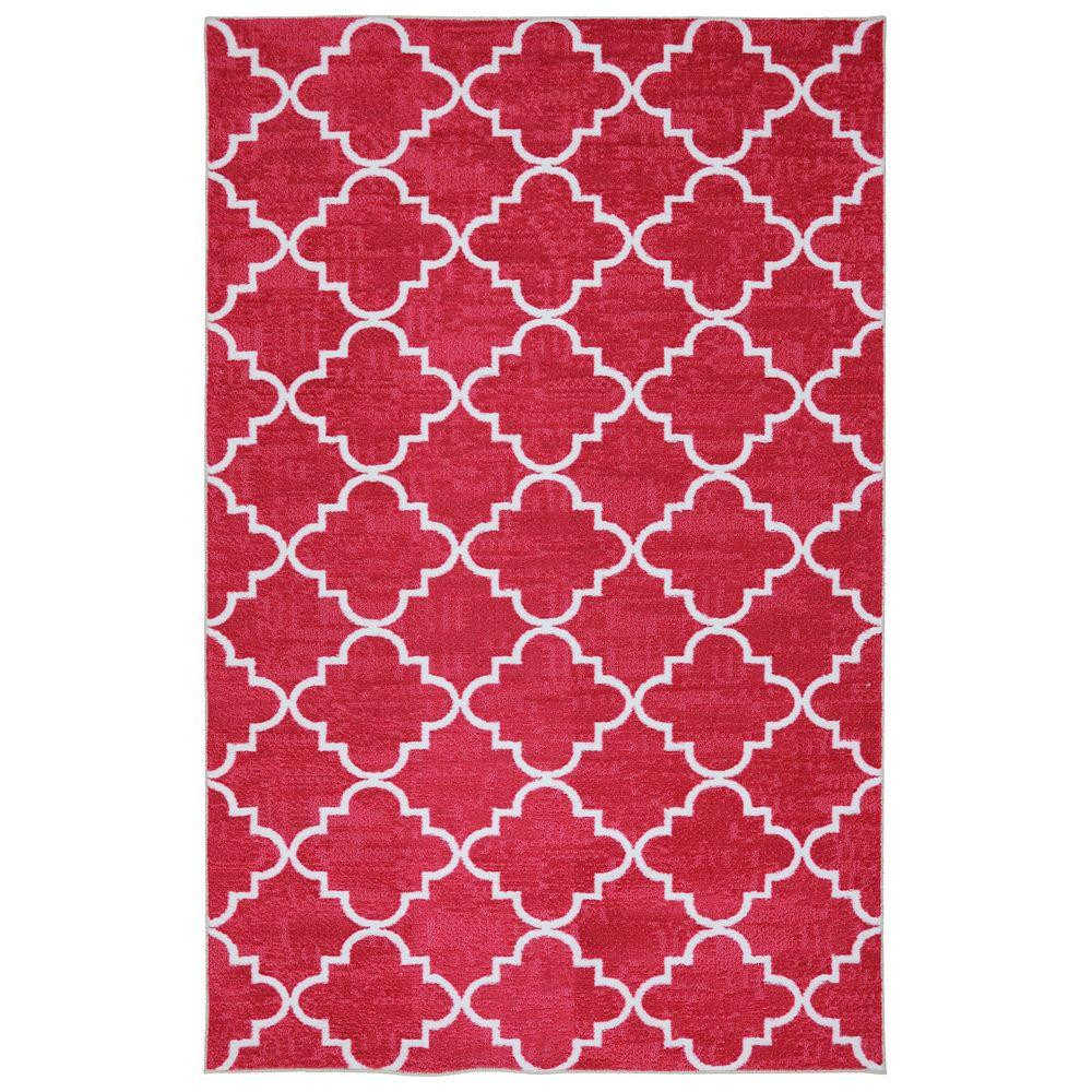 Mohawk Home Carpette d'intérieur, 5 pi x 8 pi, style transitionnel, rectangulaire, rose Fancy Trellis