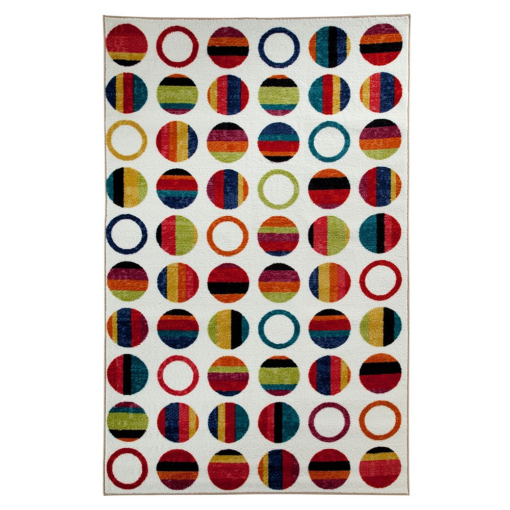 Mohawk Home Striped Dots Multi-Colour 8 ft. x 10 ft. Rectangular Area Rug