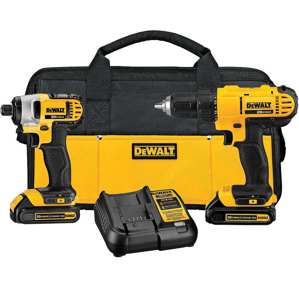 DEWALT 20V MAX Lithium-Ion Cordless Drill/Driver and Impact Combo Kit (2-Tool) with 1.3Ah Battery, Charger and Bag