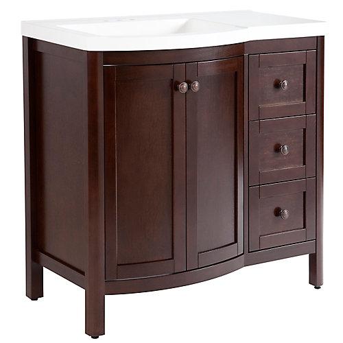 Meuble-lavabo autoportant Madeline fini brun avec 2 tiroirs et dessus en céramique blanche, 36,30 po