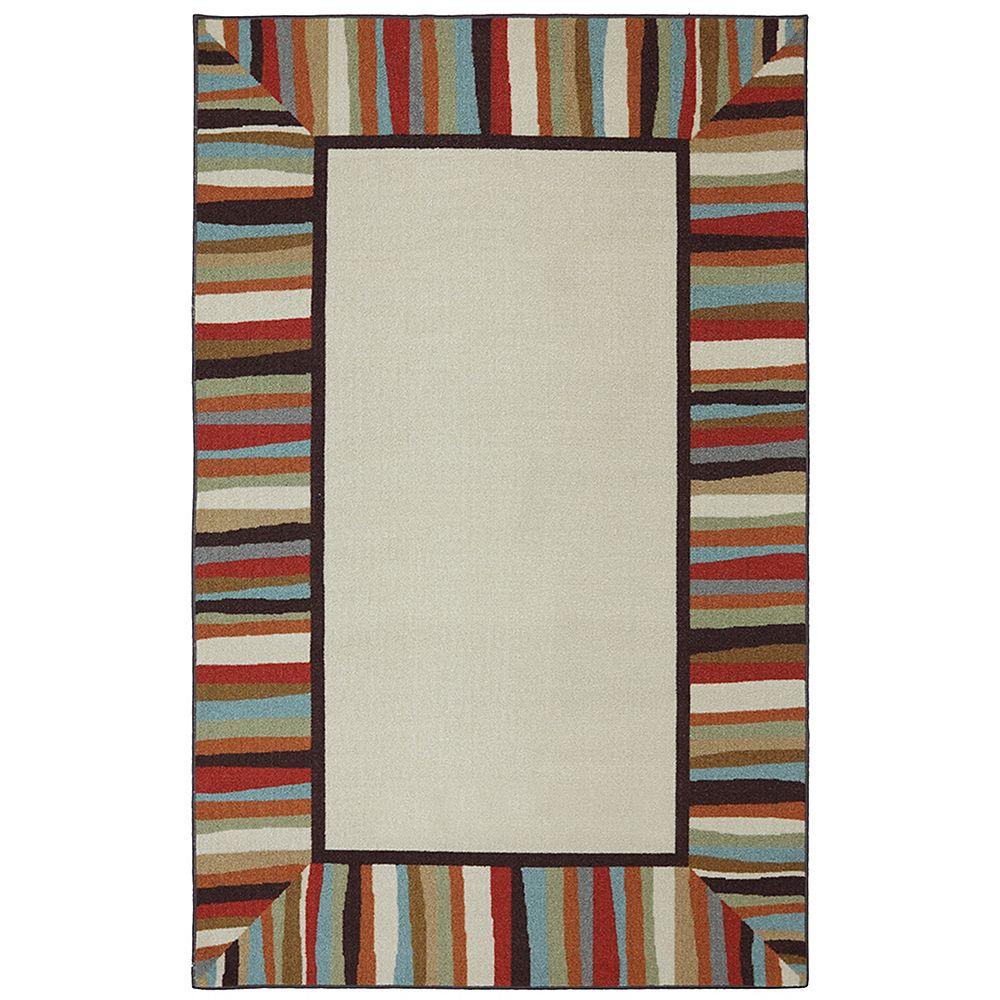 Mohawk Home Tapis de passage d'intérieur/extérieur, 8 pi x 10 pi, style transitionnel, rectangulaire, havane Patio Border