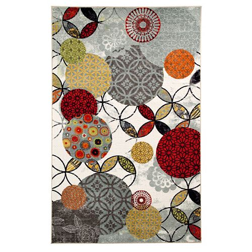 Carpette d'intérieur, 5 pi x 8 pi, style transitionnel, rectangulaire, multicolore Give and Take Kaleidoscope