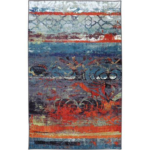 Eroded Multi-Colour 5 ft. x 8 ft. Indoor Transitional Rectangular Area Rug
