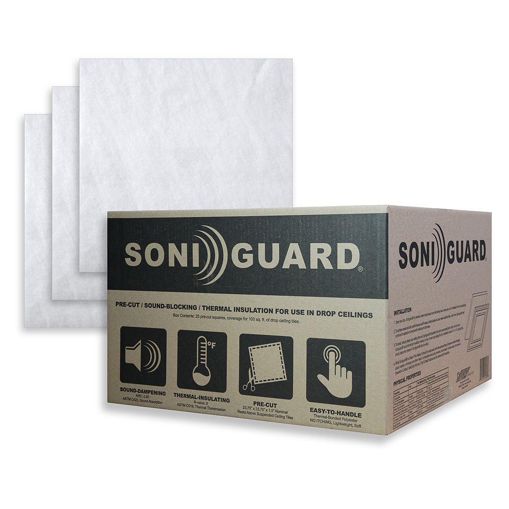 Ceilume Isolant acoustique et thermique pour carreaux de plafond suspendu Soniguard, 24 po x 24 po (boîte de 24)