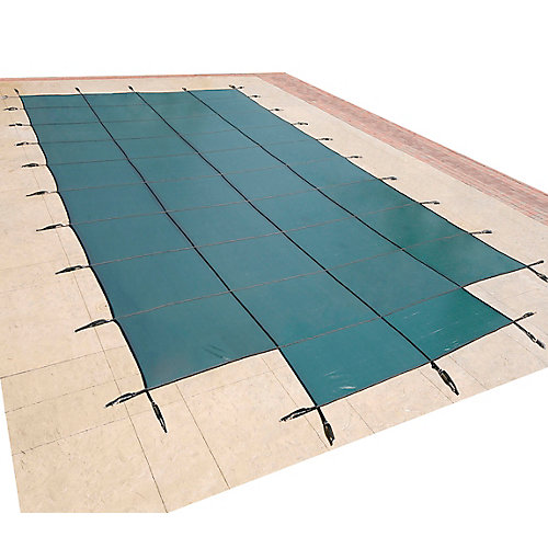 18 ft. x 36 ft. Rectangular Green In-Ground Pool Safety Cover with 4 ft. x 8 ft. Centre Step