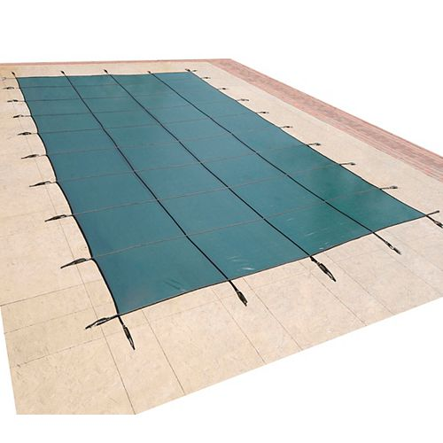 Blue Wave 14 ft. x 28 ft. Rectangular Green In-Ground Pool Safety Cover