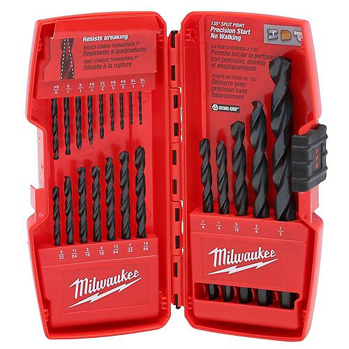 21-Piece Thunderbolt Black Oxide Drill Bit Set