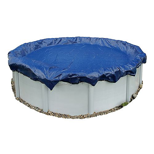 Gold Grade 18 ft. Round Navy Blue Above-Ground Winter Pool Cover with 15-Year Warranty