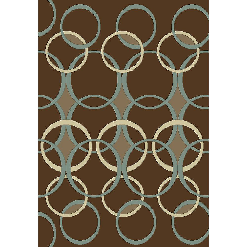 Cam Living Madera Design Brown 6 ft. 5-inch x 9 ft. 5-inch Rectangular Area Rug