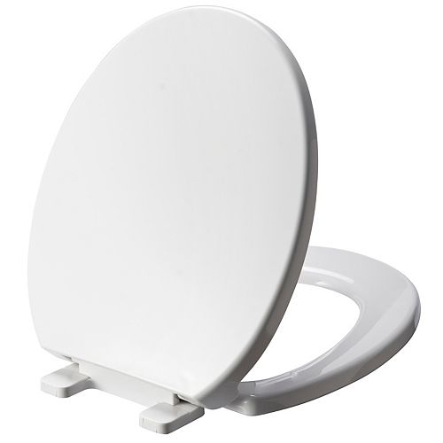 Round Plastic Toilet Seat in White