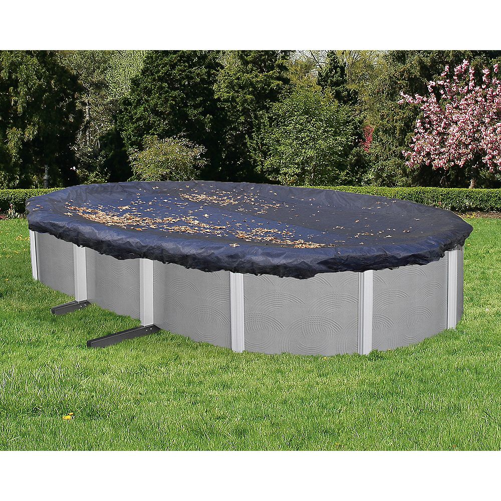 Blue Wave 16 ft. x 25 ft. Oval Leaf Net Above-Ground Pool Cover