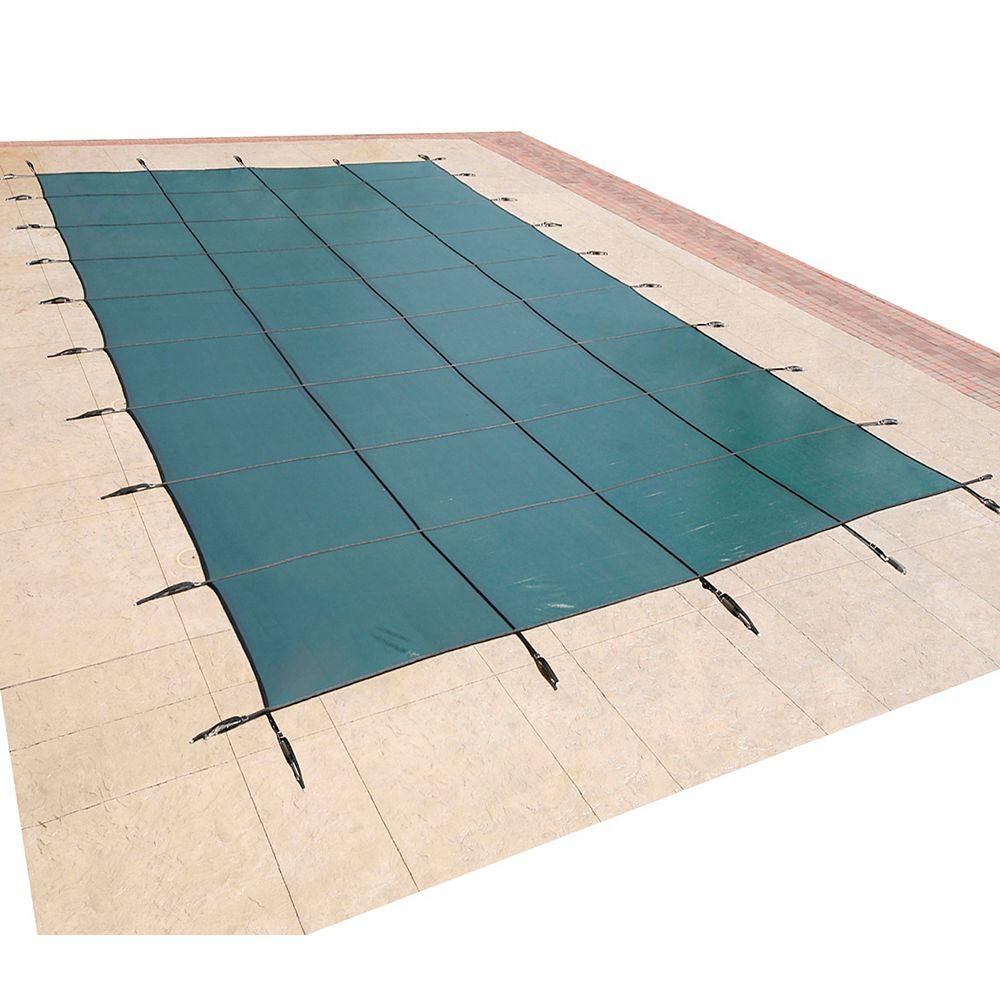 Blue Wave Bâche de sécurité rectangulaire en maille pour piscine creusée, 6 m x 12,1 m (20 pi x 40 pi) - Vert