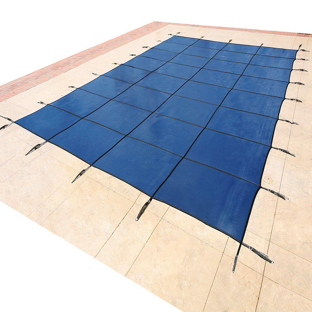 Blue Wave Bâche de sécurité rectangulaire en maille pour piscine creusée, 4,8 m x 9,7 m (16 pi x 32 pi) - Bleu