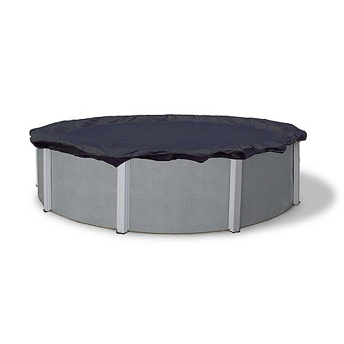 Bronze Grade 18 ft. Round Above-Ground Winter Pool Cover with 8-Year Warranty in Navy Blue