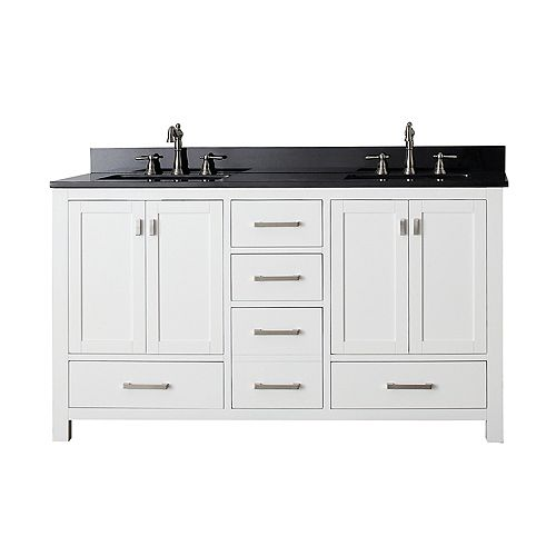 Modero 61-inch W 5-Drawer Freestanding Vanity in White With Granite Top in Black, Double Basins