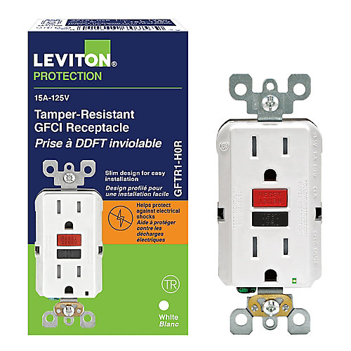 Decora 15 Amp Tamper-Resistant Slim GFCI Receptacle/Outlet with Black & Red Buttons
