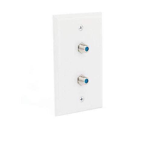 Dual Coaxial Wall Plate, White