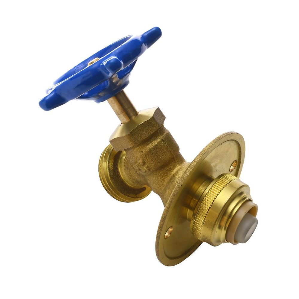 Push'N'Connect Brass Hose Bibb with Flange 1/2 Inch x 3/4 Inch Male Hose Thread